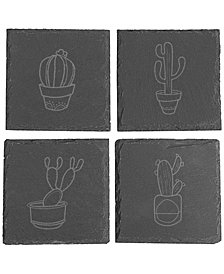 Cathy's Concepts Cactus Slate Coasters , Set Of 4