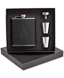 Cathy's Concepts Personalized Black Leather Wrapped Flask Set