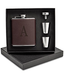 Cathy's Concepts Personalized Leather Wrapped Flask Set
