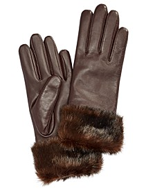 Faux Fur-Cuff Leather Tech Gloves, Created for Macy's