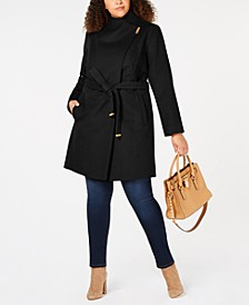 Plus Size Asymmetrical Belted Coat, Created for Macy's