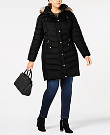 Plus Size Hooded Faux-Fur-Trim Puffer Coat, Created For Macy's
