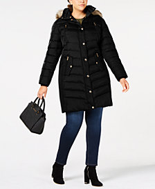 MICHAEL Michael Kors Plus Size Faux-Fur-Trim Hooded Down Coat