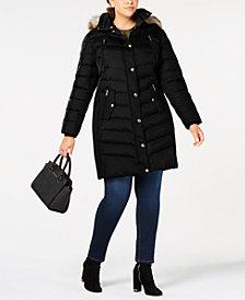 MICHAEL Michael Kors Plus Size Faux-Fur-Trim Hooded Down Coat