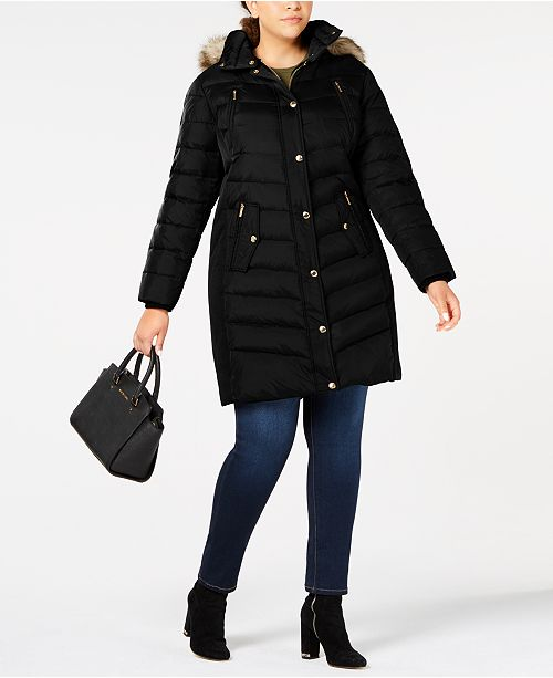 62ac27d2b82 Michael Kors Plus Size Faux-Fur-Trim Hooded Down Coat   Reviews ...