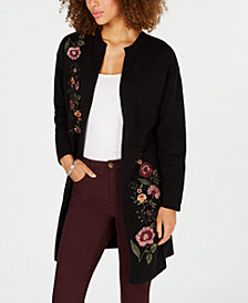 Style & Co Embroidered Sweater Duster Coat, Created for Macy's