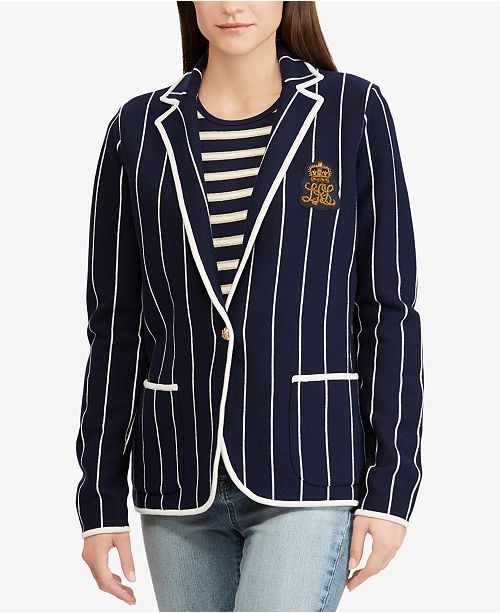 9fa309cd966a Lauren Ralph Lauren Bullion-Patch Striped Blazer - Jackets   Blazers ...