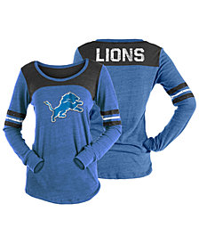 5th & Ocean Women's Detroit Lions Tri-Blend Distressed Long Sleeve T-Shirt
