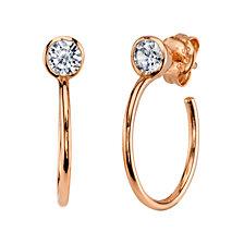 "Unwritten CZ stud hoop earring in rose gold-flashed sterling silver, .59"""