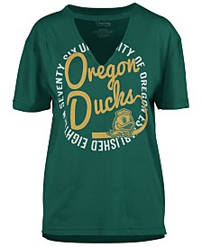 Royce Apparel Inc Women's Oregon Ducks Cutout V-Neck T-Shirt