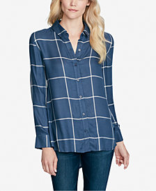 Jessica Simpson Juniors' Petra Plaid High-Low Blouse