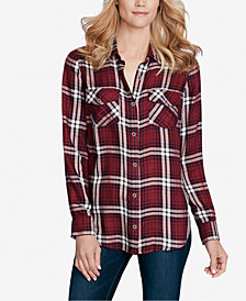 Jessica Simpson Juniors' Petunia Plaid Button-Front Shirt