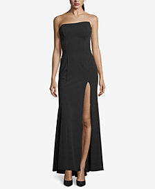 Betsy & Adam Strapless Pleated-Back Gown