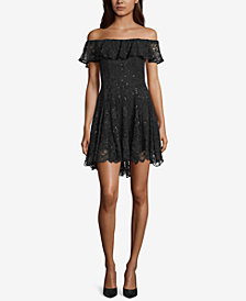 Betsy & Adam Off-The-Shoulder Lace Dress