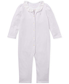 Ralph Lauren Baby Girls Ruffled Cotton Coverall