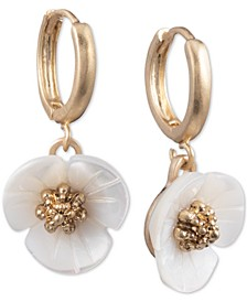 Gold-Tone Imitation Mother-of-Pearl Flower Drop Small Earrings