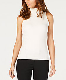 Anne Klein Sleeveless Ribbed Turtleneck