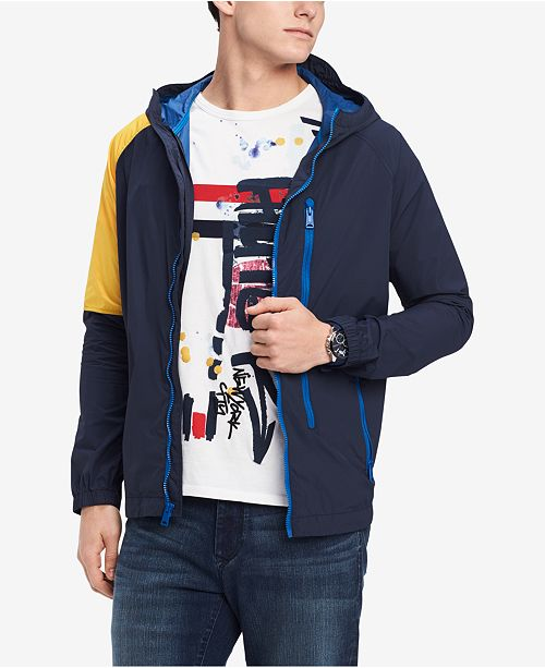 acee3022 Tommy Hilfiger Men's Union Colorblocked Hooded Windbreaker & Reviews ...