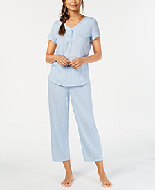 Charter Club Cotton Printed Top & Pajama Pants Set, Created for Macy's