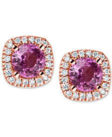 Pink Sapphire (1 ct. t.w.) & Diamond (1/6 ct. t.w.) Stud Earrings in 14k Rose Gold