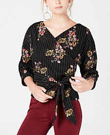 XOXO Juniors' Ruched-Sleeve Wrap Blouse