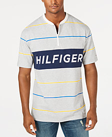 Tommy Hilfiger Denim Men's Jonah Stripe Logo Graphic 1/4-Zip T-Shirt