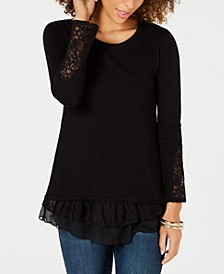 Petite Lace-Trimmed Long-Sleeve Top, Created for Macy's