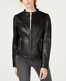 Maison Jules Ruffled Peplum Leather Jacket, Created for Macy's