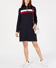 Tommy Hilfiger Colorblock Half-Zip Dress, Created for Macy's