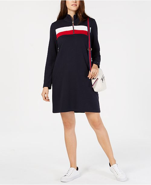 580ea087fe6bd Tommy Hilfiger Colorblock Half-Zip Dress