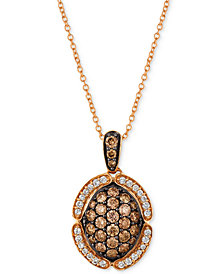 "Le Vian Chocolatier® Diamond Pavé 18"" Pendant Necklace (9/10 ct. t.w.) in 14k Rose Gold"