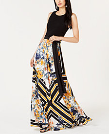 I.N.C. Printed-Skirt Tie-Waist Dress, Created for Macy's