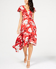 I.N.C. Printed High-Low Wrap Dress, Created for Macy's