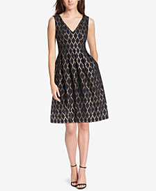 Vince Camuto Metallic Quatrefoil Fit & Flare Dress
