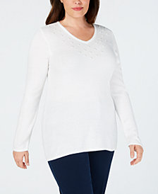 Karen Scott Plus Size Luxesoft Faux-Pearl Sweater, Created for Macy's