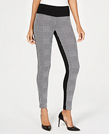 I.N.C. Plaid-Contrast Pull-On Pants, Created for Macy's