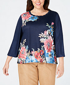 Alfred Dunner Plus Size News Flash Floral-Print Top