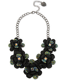 "Betsey Johnson Hematite-Tone Crystal Flower Statement Necklace, 16"" + 3"" extender"