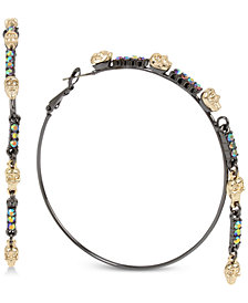 Betsey Johnson Two-Tone Crystal & Skull Hoop Earrings
