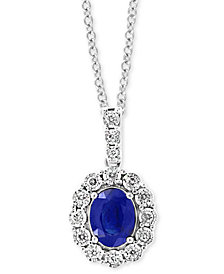 "EFFY® Sapphire (1-9/10 ct. t.w.) & Diamond (1/4 ct. t.w.) 18"" Pendant Necklace in 14k White Gold"