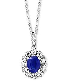 "EFFY® Sapphire (1-9/10 ct. t.w.) & Diamond (1/4 ct. t.w.) 18"" Pendant Necklace in 14k White Gold"
