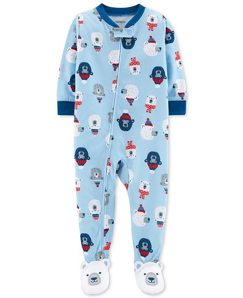 963a11292 Carter s Baby Boys 1-Pc. Polar Bear-Print Footed Pajamas   Reviews ...