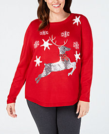 Karen Scott Plus Size Sequin Reindeer Sweater, Created for Macy's