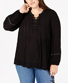 Style & Co Plus Size Lace-Up Crochet-Trim Peasant Top, Created for Macy's