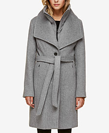 Soia & Kyo Belted Oversized-Collar Coat