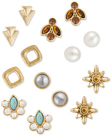 Lucky Brand Gold-Tone 7-Pc. Set Crystal, Stone & Imitation Pearl Stud Earrings, Created for Macy's
