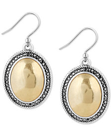 Lucky Brand Two-Tone Crystal Drop Earrings