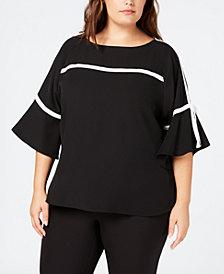 Calvin Klein Plus Size Tie-Sleeve Contrast-Trim Blouse
