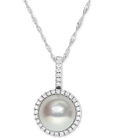 "Cultured Freshwater Pearl (9mm) and Diamond Halo (1/4 ct. t.w.) Necklace in 14k White Gold, 16"" + 2"" extender"