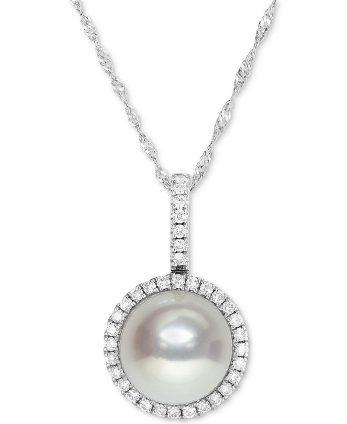 """Macy's - Cultured Freshwater Pearl (9mm) and Diamond Halo (1/4 ct. t.w.) Necklace in 14k White Gold, 16"""" + 2"""" extender"""